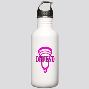 Lacrosse Defend Head Pink Stainless Water Bottle 1