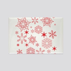 Rosy Snowflakes Magnets