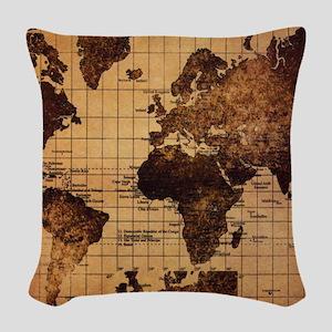 Vintage World Map Woven Throw Pillow