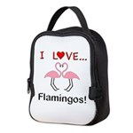 I Love Flamingos Neoprene Lunch Bag