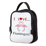 I Love Flamingos Neoprene Lunch Bag