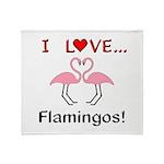 I Love Flamingos Throw Blanket