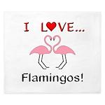 I Love Flamingos King Duvet