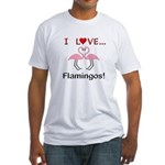 I Love Flamingos Fitted T-Shirt