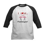 I Love Flamingos Kids Baseball Jersey