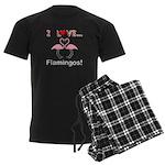 I Love Flamingos Men's Dark Pajamas