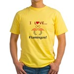 I Love Flamingos Yellow T-Shirt