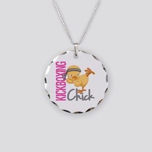 Kickboxing Chick 2 Necklace Circle Charm