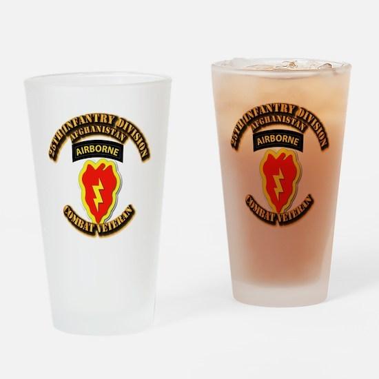 Army - 25th ID w Cbt Vet - Afghan Drinking Glass
