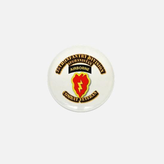 Army - 25th ID w Cbt Vet - Afghan Mini Button