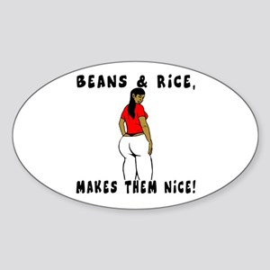 Beans & Rice, Makes them Nice! Oval Sticker
