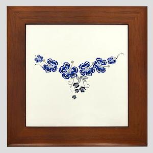 blue hibiscus Framed Tile