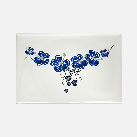 blue hibiscus Rectangle Magnet