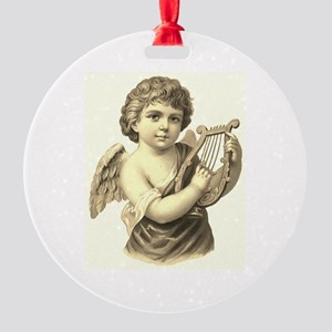 Vintage Harp Angel Sepia Round Ornament