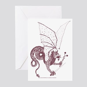 Sepia Battle Dragon Greeting Cards (Pk of 10)