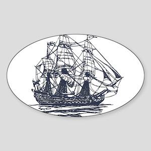 Nautical Ship Sticker (Oval)