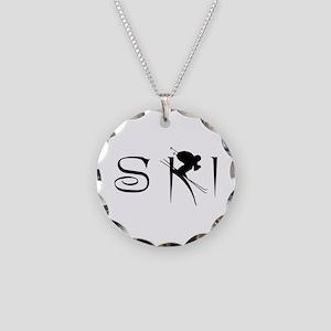 SKI Necklace Circle Charm