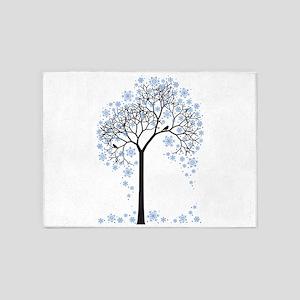Winter tree with birds 5'x7'Area Rug