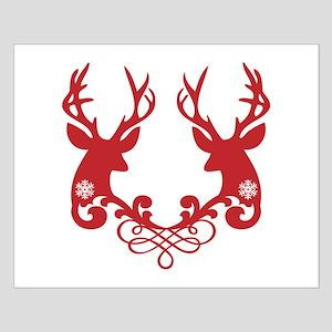 Red Christmas deer heads Poster Kleine XXXXX