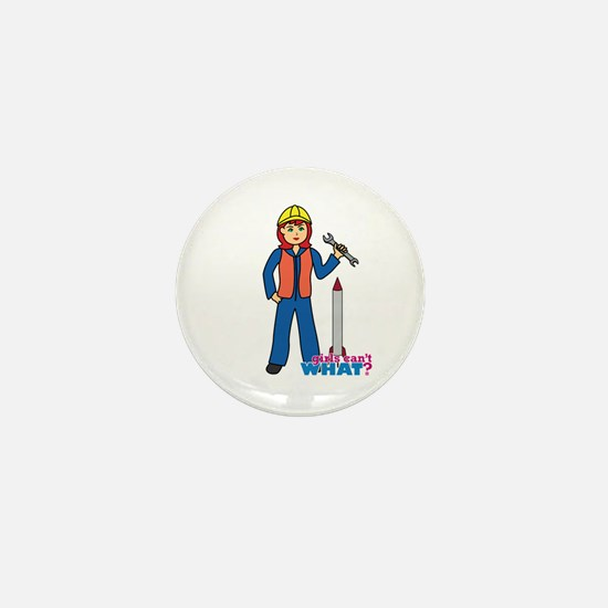 Rocket Scientist Woman Light Red Mini Button