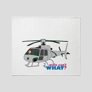 Girl Helicopter Pilot Light/Red Throw Blanket