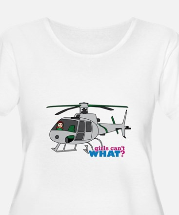 Girl Helicopter Pilot Light/Red T-Shirt