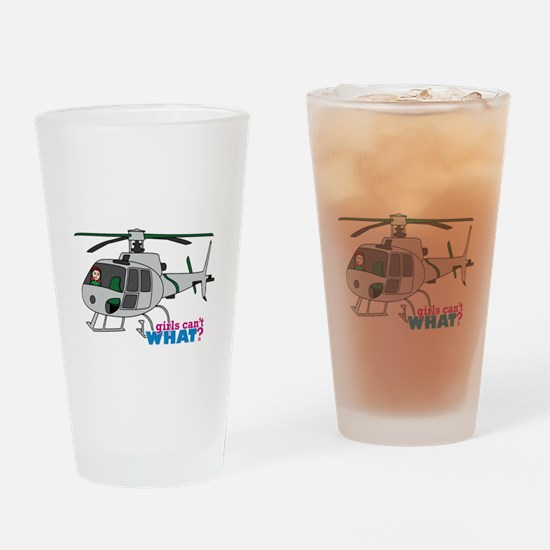 Girl Helicopter Pilot Light/Red Drinking Glass
