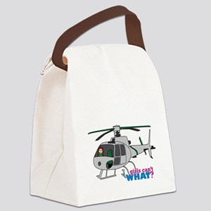 Girl Helicopter Pilot Light/Red Canvas Lunch Bag