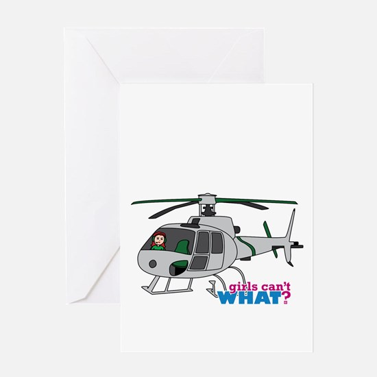 Girl Helicopter Pilot Light/Red Greeting Card