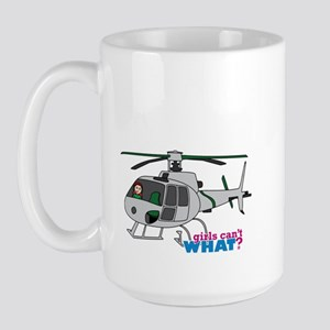 Girl Helicopter Pilot Light/Red Large Mug