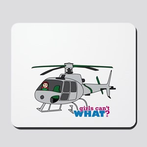 Girl Helicopter Pilot Light/Red Mousepad