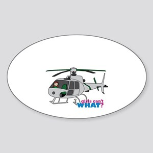 Girl Helicopter Pilot Light/Red Sticker (Oval)