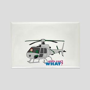Girl Helicopter Pilot Light/Red Rectangle Magnet