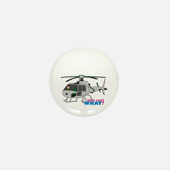 Girl Helicopter Pilot Light/Red Mini Button