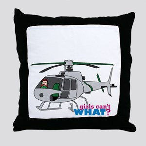 Girl Helicopter Pilot Light/Red Throw Pillow