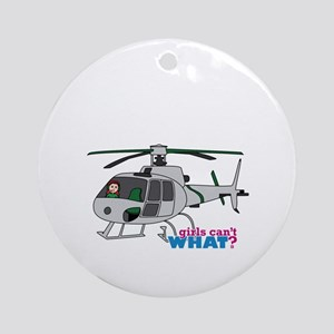 Girl Helicopter Pilot Light/Red Ornament (Round)