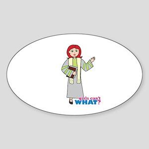 Preacher Woman Light/Red Sticker (Oval)