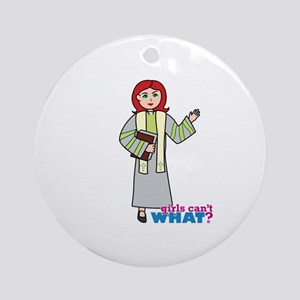 Preacher Woman Light/Red Ornament (Round)