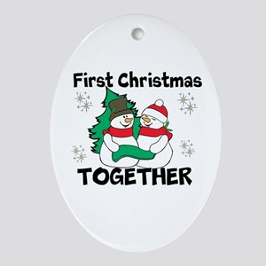Cute First Christmas Together Ornament (Oval)