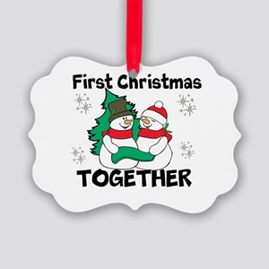 Cute First Christmas Together Picture Ornament