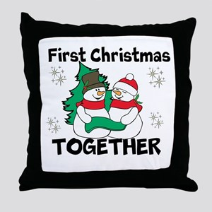 Cute First Christmas Together Throw Pillow