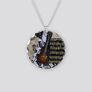 Electric Guitar Necklace Circle Charm