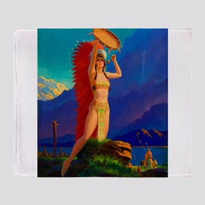 Indian Woman Pin Up Throw Blanket