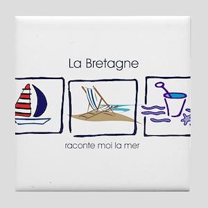 la Bretagne beach Tile Coaster