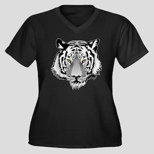 Tigerface Women's Plus Size Dark V-Neck T-Shirt