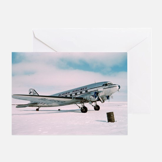 Vintage Alaska Airlines airplane cla Greeting Card