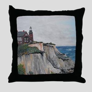 Block Island Lighthouse on the Cliffs Throw Pillow