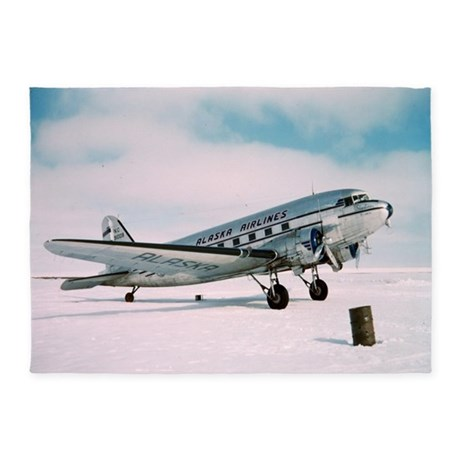 Classic Aviatian Vintage Airplane A 5 X7 Area Rug By