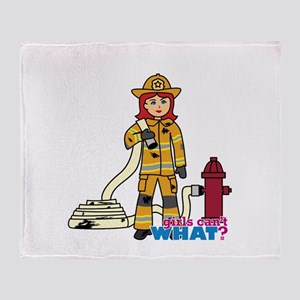 Firefighter Woman Light/Red Throw Blanket