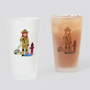Firefighter Woman Light/Red Drinking Glass